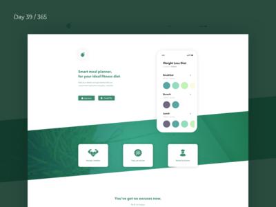 Green Challenge - Diet365 App Landing | Day 39/365 - Project365