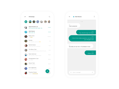 WhatsApp Mobile - Redesign Concept | Day 51/365 - Project365 minimal design-challenge project365 sketch redesign-tuesday redesign chatting chat app whatsapp-mobile whatsapp