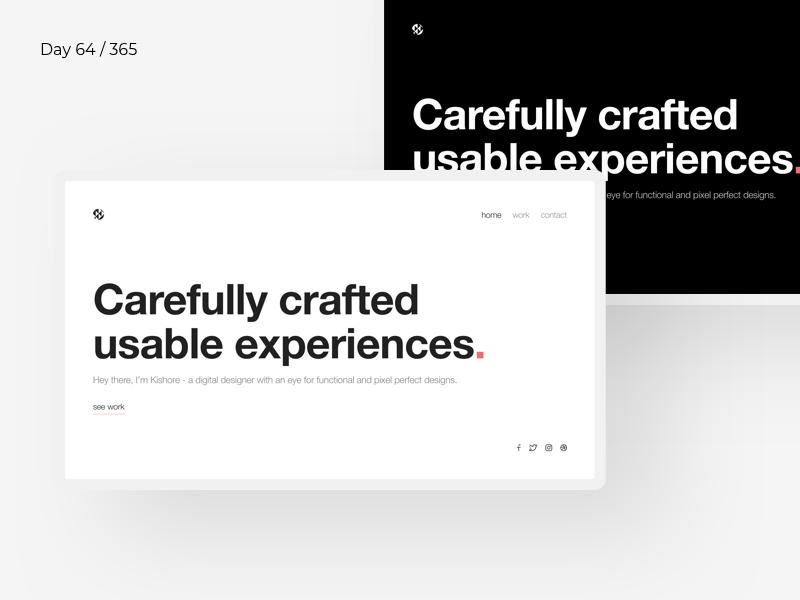 Boldie - Minimal Designer Portfolio | Day 64/365 - Project365 digital ui ux portfolio designer helvetica bold sketch project365 design-challenge minimal-monday minimal