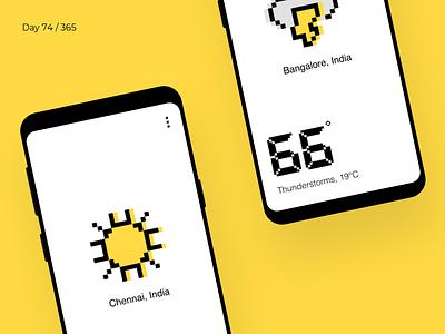 Pixel Weather App    Day 74/365 - Project365 8bit pixels climate weather disruptive-thursday project365 design-challenge colours app ios mobile-app