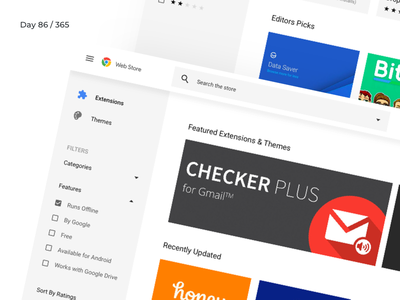 Chrome Web Store - Redesign Concept   Day 86/365 - Project365 sketch redesign-tuesday redesign project365 material design google chrome extensions design-challenge chrome store