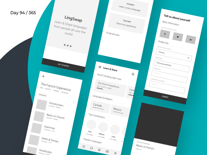 LingSwap - Language App Wireframe | Day 94/365 - Project365 skillshare linguistic learn language language learning skills language wireframe-wednesday project365 design challenge wireframe daily-ui