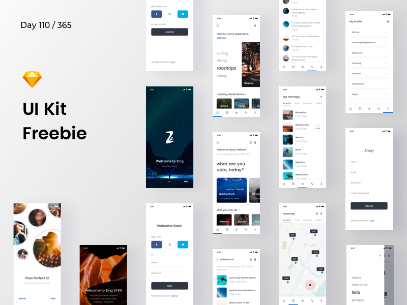 Zing - Mobile UI Kit Freebie | Day 110/365 - Project365 ios-ui-kit social-network hashtag travel app sketch-freebie ui-kit mobile-app freebie sketch project365 freebie-friday