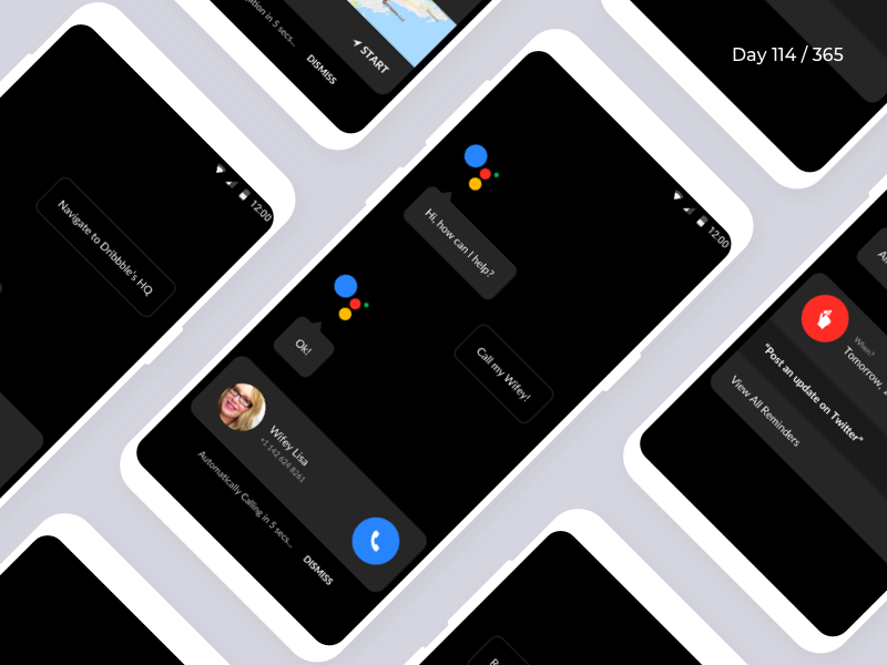 Google Assistant - Redesign / Dark UI | Day 114/365 - Project365 assistant-dark-mode google-assistant google redesign concept mobile-app android-app sketch redesign-tuesday project365