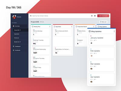 Kanban Task Management Dashboard | Day 118/365 - Project365 lists tasks project-management kanban saas sketch project365 design-challenge dashboard-saturday dashboard