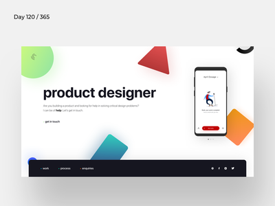 Product Designer Minimal Portfolio   Day 120/365 - Project365 minimal-landing-page personal-site template portfolio product-designer gradients project365 design-challenge minimal-monday minimal
