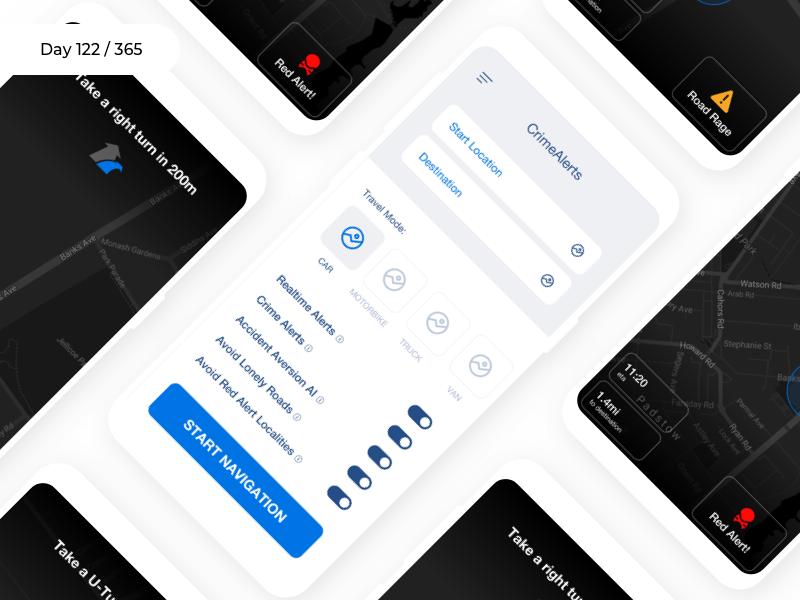 CrimeAlerts - Navigation App   Day 122/365 - Project365 safety app drive assist app realtime alerts crime-alerts navigation wireframe-wednesday project365 design challenge wireframe daily-ui mobile-app