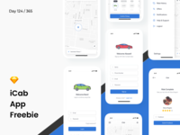 iCab - Cab Booking App UI Freebie | Day 124/365 - Project365