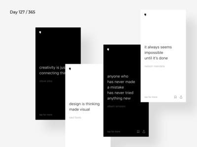 Minimal Quotes App Concept   Day 127/365 - Project365 blackwhite quotes quotes-app mobile-app app minimal minimal-monday design-challenge project365
