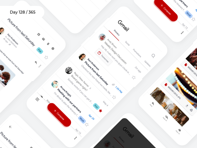 Gmail Android - Redesign Material 2.0   Day 128/365 - Project365 gmail2018 google redesign concept mobile-app android-app sketch redesign-tuesday project365 gmail material design 2