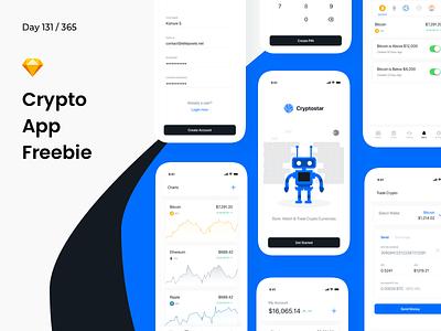 Crypto App - iOS UI Kit Freebie | Day 131/365 - Project365 bitcoin app wallet cryptocurrency crypto freebie-friday project365 sketch freebie sketch-freebie mobile-app ios