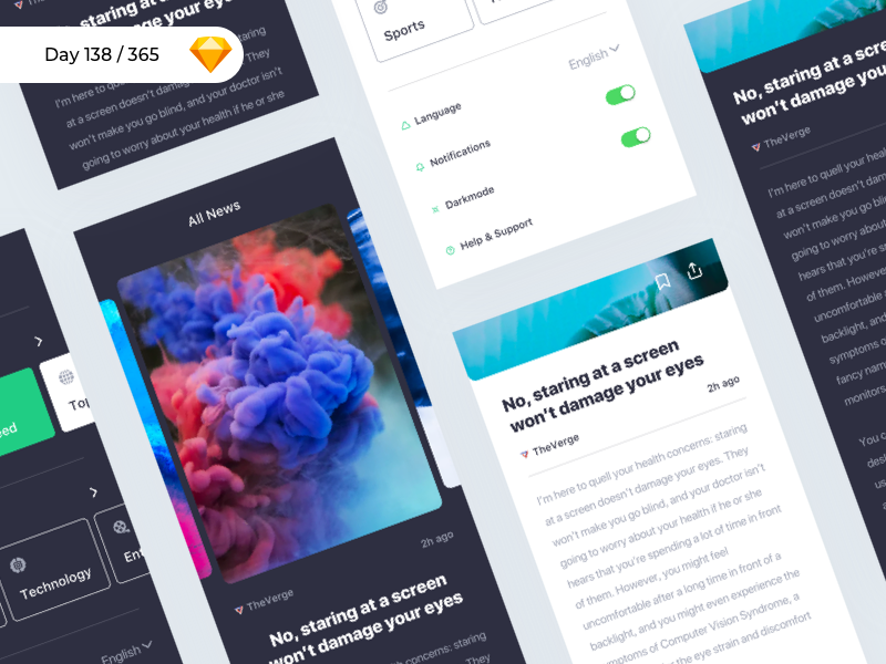 iNews - iOS UI Kit Freebie | Day 138/365 - Project365 ios mobile-app sketch-freebie freebie sketch project365 freebie-friday crypto cryptocurrency wallet bitcoin app