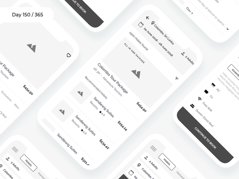 Hotels & Tours App - Wireframe | Day 150/365 - Project365 tours and packages hotels app wireframe-wednesday project365 design challenge wireframe daily-ui mobile-app