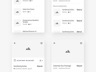 Hotels & Tours App - Wireframe   Day 150/365 - Project365 tours and packages hotels app wireframe-wednesday project365 design challenge wireframe daily-ui mobile-app