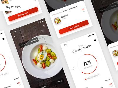 iCalorie - AR Dieting App Concept | Day 151/365 - Project365 disruptive-thursday project365 design-challenge daily-ui calories calorie meter ar app ar diet