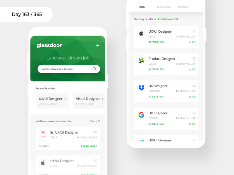 Glassdoor Mobile App - Redesign | Day 163/365 - Project365 glassdoor redesign job search mobile job-search glassdoor android app project365 redesign-tuesday sketch mobile-app concept redesign