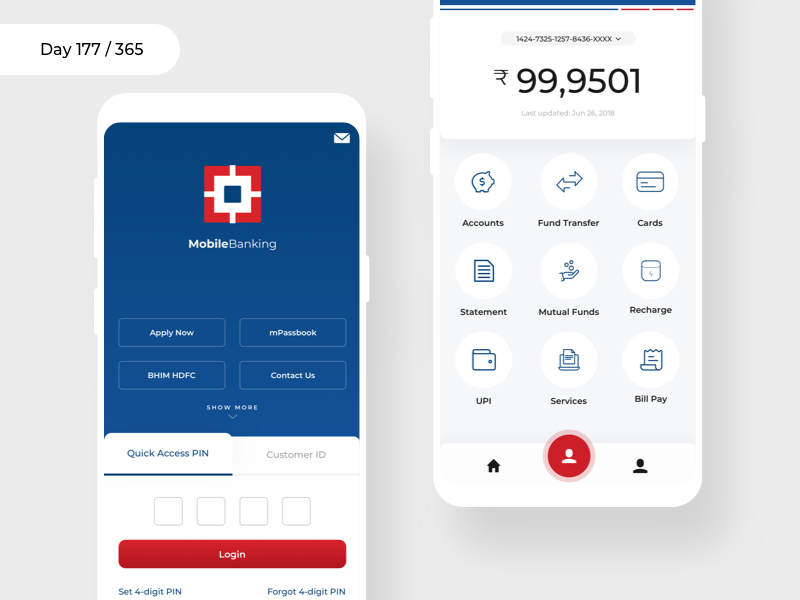 HDFC MobileBanking - Redesign | Day 177/365 - Project365 hdfc-app hdfc mobile banking banking android app project365 redesign-tuesday sketch mobile-app concept redesign