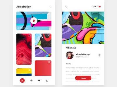 Artspiration - Art Curation App   Day 186/365 - Project365 design-challenge project365 disruptive-thursday app art inspiration art masonry art-boards