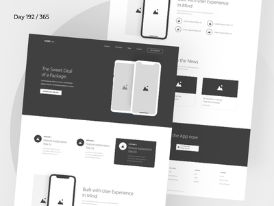 App Landing Page Wireframe    Day 192/365 - Project365 myriad pro wireframe-wednesday project365 design challenge wireframe daily-ui landing page