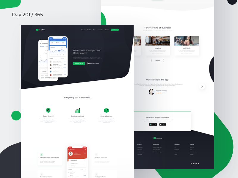 Mobile App Landing Page Freebie | Day 201/365 - Project365 modern ios-app sketch-freebie project365 freebie-friday saas product page saas software sketch landing page freebie landing page mobile-app work sans