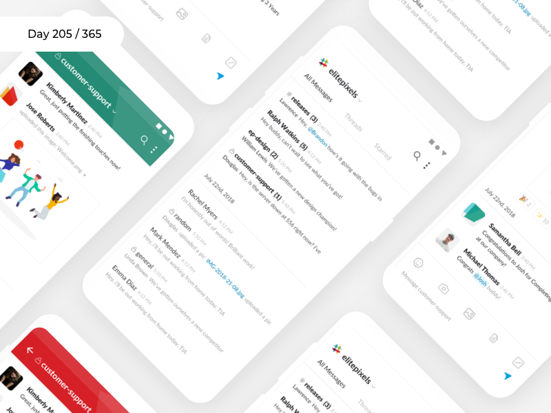 Slack Mobile App Redesign   Day 205/365 - Project365 project365 redesign-tuesday sketch concept redesign saas teams slack. messaging