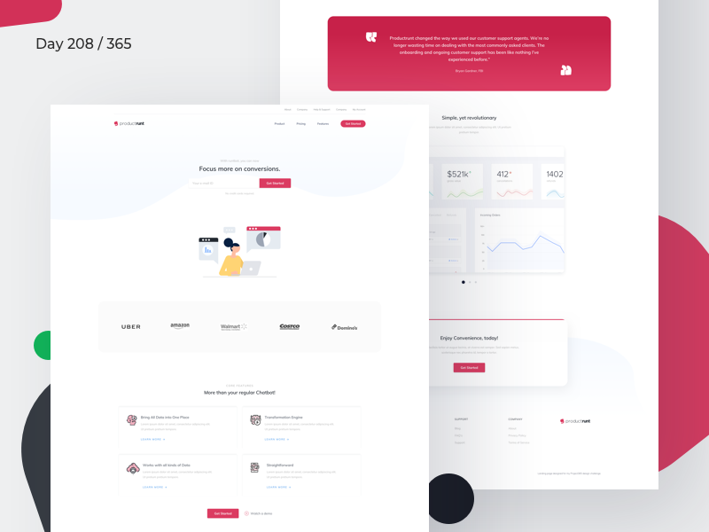 ChatBot Landing Page Freebie | Day 208/365 - Project365 landing page freebie sketch landing page saas product page freebie-friday project365 sketch-freebie bot landing page chatcharts chatbot