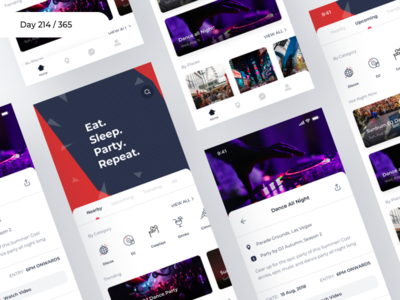 Parties & Events Finder App Concept | Day 214/365 - Project365