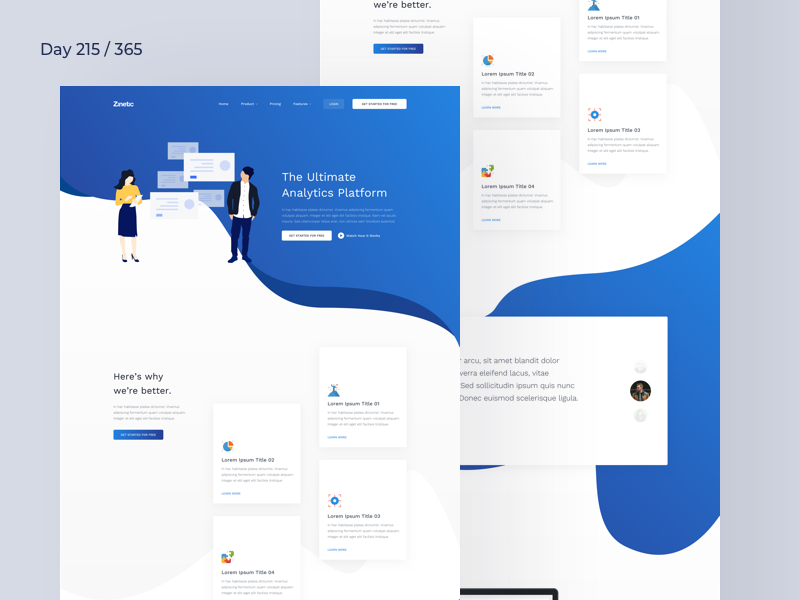 SaaS Analytics Landing Page Freebie | Day 215/365 - Project365 blue colorful illustration analytics sketch-freebie project365 freebie-friday product page saas sketch landing page freebie landing page