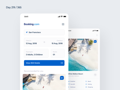 Booking.com App Redesign Concept | Day 219/365 - Project365