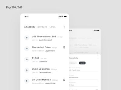 Borrow/Lending Tracker App | Day 220/365 - Project365