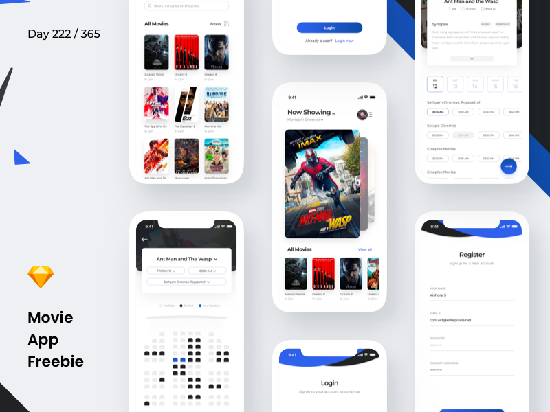 Movie Booking App Freebie | Day 222/365 - Project365 by