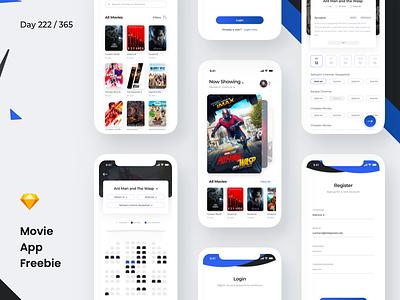 Movie Booking App Freebie | Day 222/365 - Project365 cinema movie theatre booking app booking app free app freebie app mobile app ios freebie-friday project365 sketch-freebie