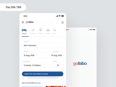 GoIbibo App Redesign Concept | Day 226/365 - Project365 flight booking app hotel booking travel app goibibo redesign redesign-tuesday sketch project365 mobile-app