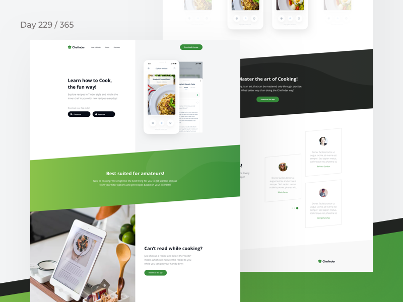 Recipes App Landing Page Freebie | Day 229/365 - Project365 recipes app freebie sketch freebie mobile-app-landing-page landing-page freebie-friday mobile-app design-challenge sketch project365