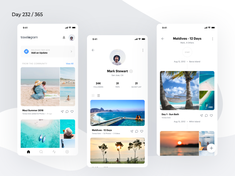 Minimal Travel Diary App Concept | Day 232/365 - Project365 travel diary travelog itinerary creator travel itinerary travel app ios11 minimal-monday ios mobile-app minimal daily-ui design-challenge project365