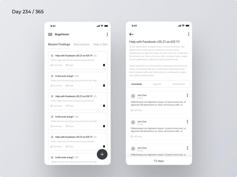 Bug Bounty - Community App Wireframe | Day 234/365 - Project365