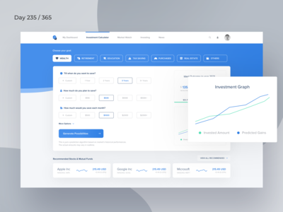 Investment Calculator Dashboard  | Day 235/365 - Project365