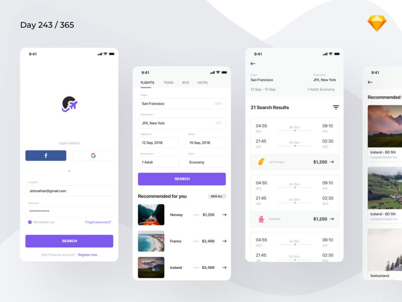 Download Flight Booking App Freebie | Day 243/365 – Project365