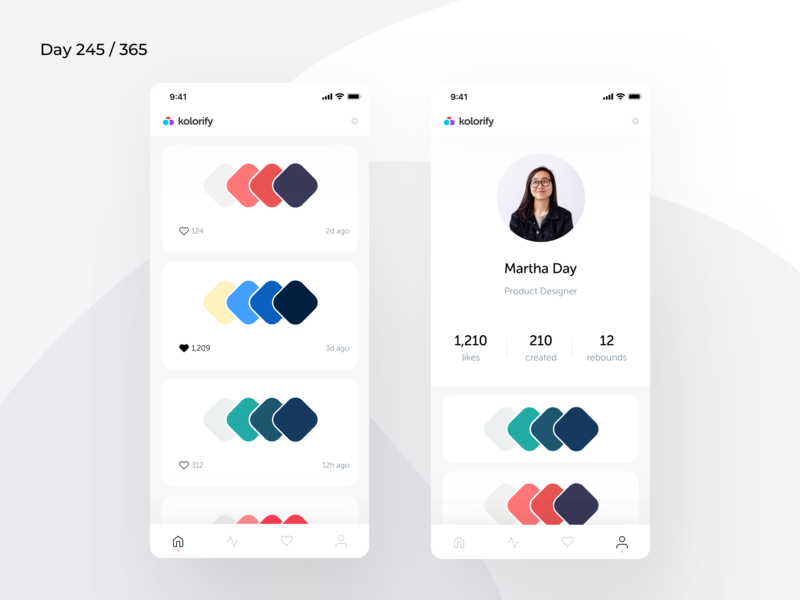 Kolorify - Color Palettes App Concept | Day 245/365 - Project365 minimal color palettes app palette generator palette colors palette colors kolorify ios super-sunday daily-ui mobile-app design-challenge project365