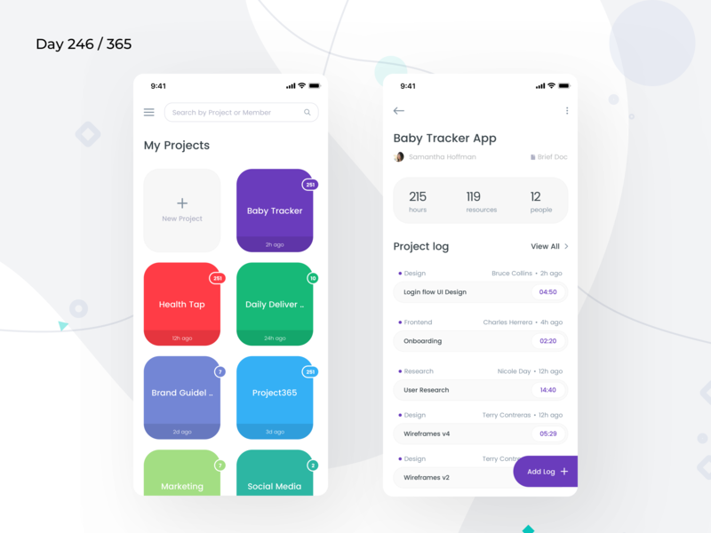 Project/Log Management App | Day 246/365 - Project365 project management tool mobile saas saas project logging log management projects project management ios11 minimal-monday ios mobile-app minimal daily-ui design-challenge project365