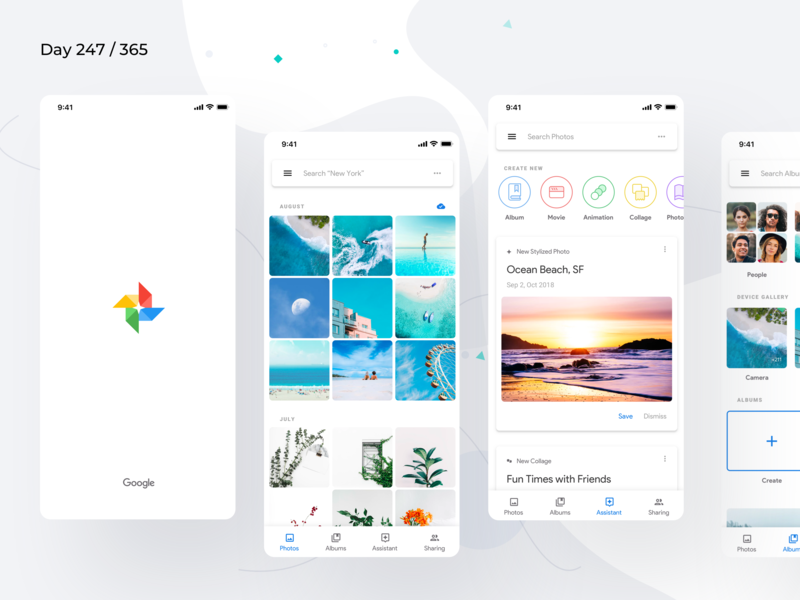Google Photos Material 2.0 Redesign | Day 247/365 - Project365 project365 google redesign concept material 2018 material design 2.0 mobile app redesign photos app google photos minimal redesign-tuesday daily-ui challenge mobile-app design-challenge
