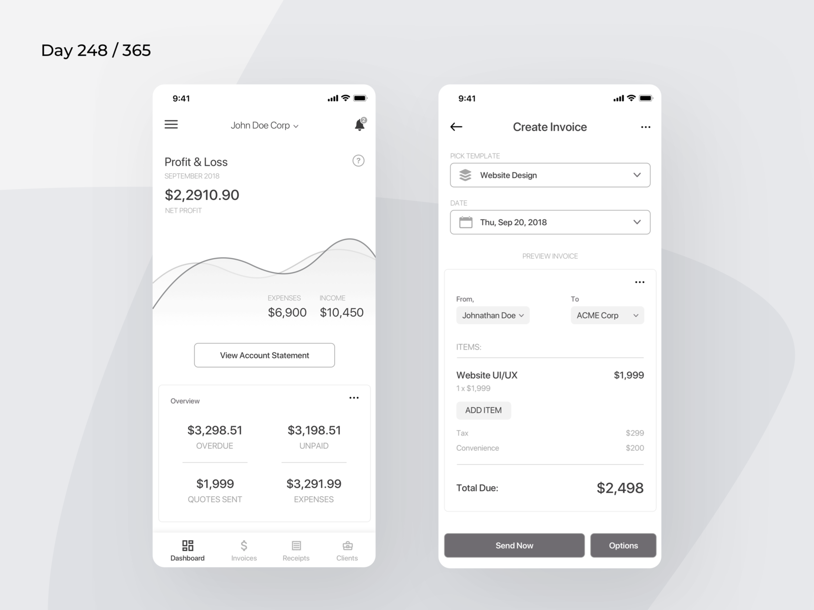 Invoice Generator App Wireframe Day Project By - Invoice 365