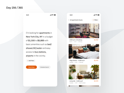 Smart Apartment Finder App Concept  | Day 256/365 - Project365 conversational minimal housing condo apartments apartment finder app filter based searching smart search ios mobile-app ios11 project365 sketch design-challenge disruptive-thursday