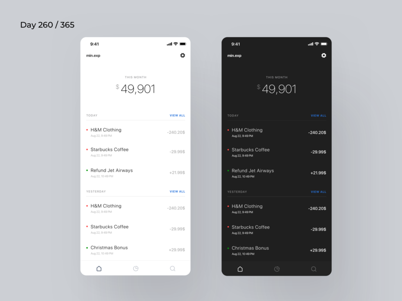 Minimal Expense Tracking App | Day 260/365 - Project365 ios11 minimal-monday ios mobile-app minimal daily-ui design-challenge project365 activity tracker daily activities tracking app hourly daily weekly data analytics