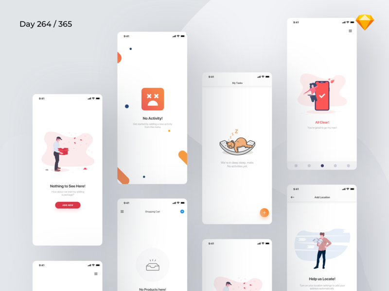 Empty States - Mobile - Freebie | Day 264/365 - Project365 ui component app empty state empty state mobile lost not found 404 empty states sketch ios sketch freebie freebie freebie-friday mobile-app project365 challenge daily-ui design-challenge sf-pro-display