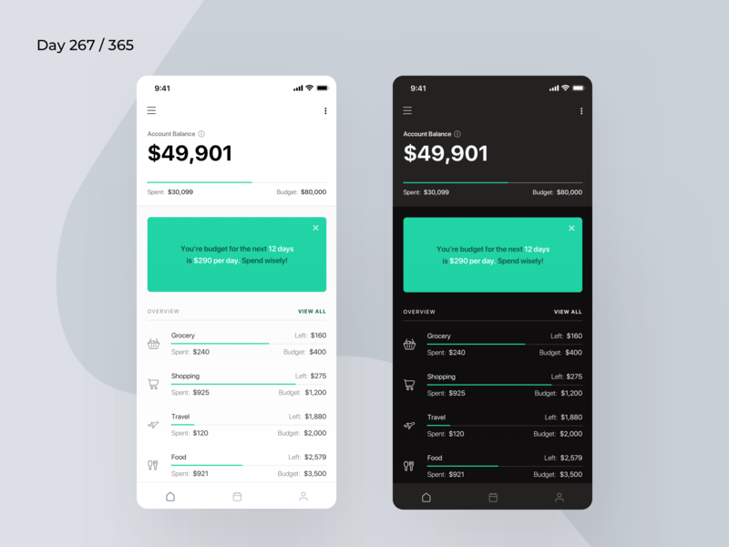 Minimal Budget Planner App | Day 267/365 - Project365 budget saver app money saver money saving app budget assistance budget planner app daily budget planner project365 design-challenge daily-ui minimal mobile-app ios minimal-monday ios11