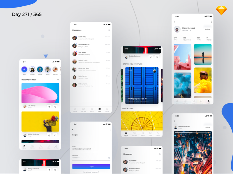 Social App UI Kit Freebie | Day 271/365 - Project365 ios ui components profile page ios login ios social network app montserrat design-challenge daily-ui challenge project365 mobile-app freebie-friday freebie sketch freebie ios sketch