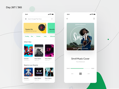 Google Play Music App Redesign | Day 275/365 - Project365 ios sketch play music app redesign google music app android pie design material 2018 material 2.0 google play music design-challenge mobile-app challenge daily-ui redesign-tuesday minimal mobile app redesign redesign concept project365