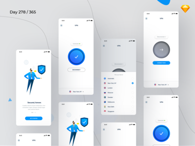 VPN Mobile App UI Kit Freebie | Day 278/365 - Project365