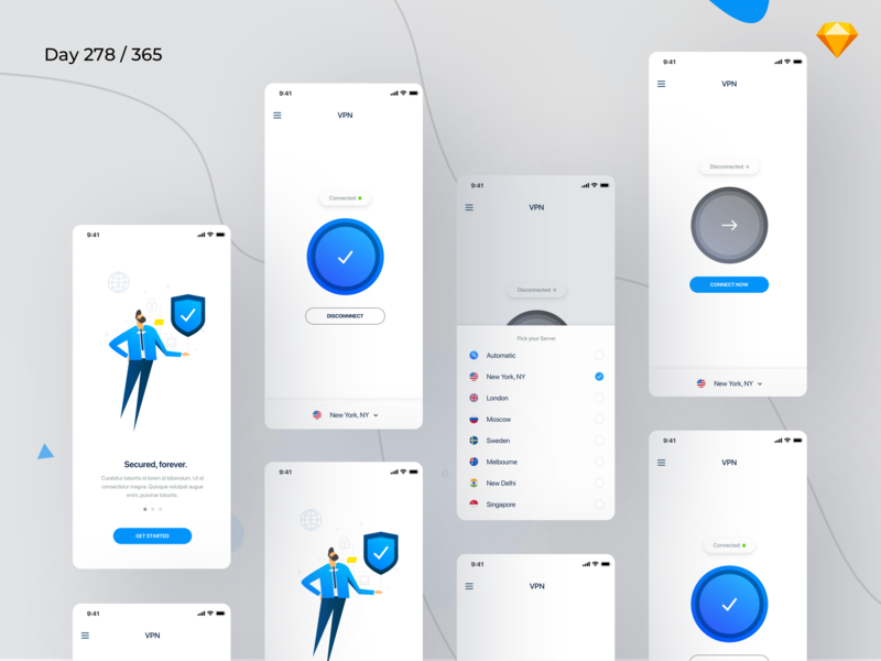 VPN Mobile App UI Kit Freebie | Day 278/365 - Project365 vpn free app ui kit vpn vpn mobile app sketch ios sketch freebie freebie freebie-friday mobile-app project365 challenge daily-ui design-challenge